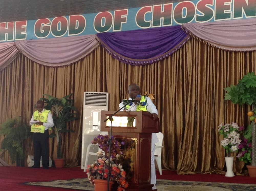 The G.O, Pastor Lazarus Muoka at the 14th anniversary celebration of the Lord's Chosen Charismatic Revival M